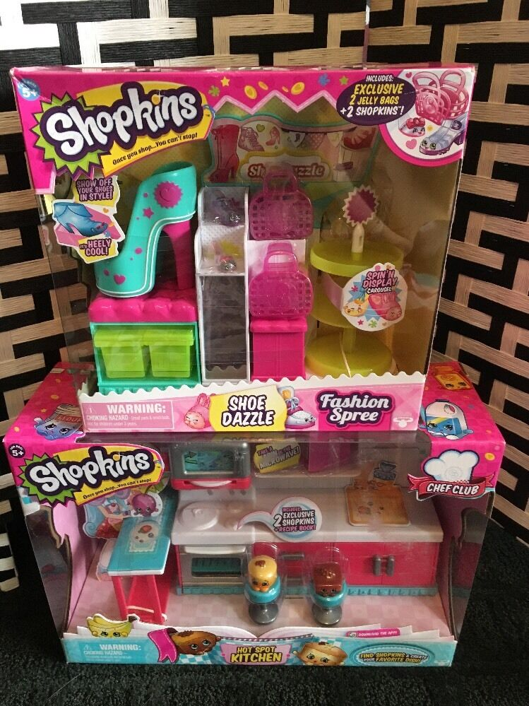 New In Box Lot Of SHOPKINS Playsets Hot Spot Kitchen & Schuhe Dazzle