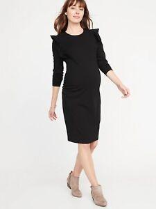6376d8f05e5 NWT  Old Navy Maternity Ruffle Shoulder Bodycon Dress   Black  Size ...