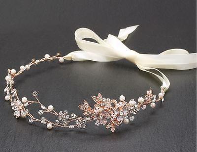 Bridal Crystal Headband Headpiece Gold Twisted Wire Vine Boho Style Wedding