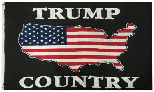 Trump Country USA Black Premium Quality 150D Woven Poly Nylon 3x5 3/'x5/' Flag