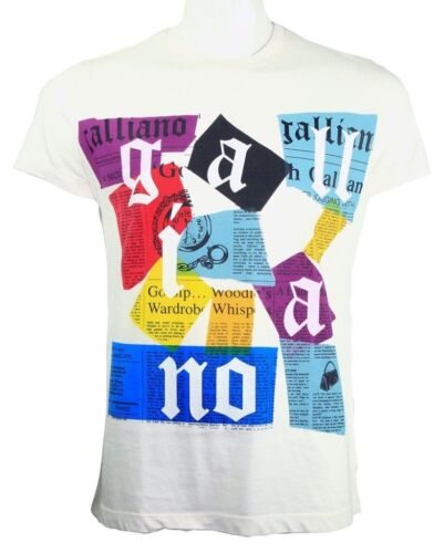 Galliano scattered newsprint tee white