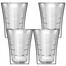 Ninja 14 Oz Microwave Safe Plastic Double Insulated Cup for Coffee Bar (4 Pack)