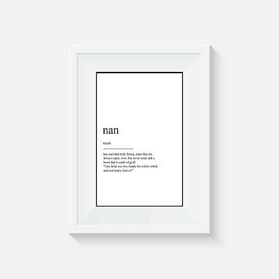 home decor Nan definition family picture wall art gift poster print