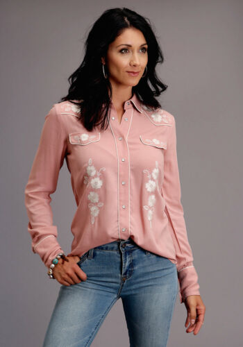 Vintage Western Wear Clothing, Outfit Ideas   Stetson Womens Pink Rayon/Nylon Western Crepe L/S Shirt $86.99 AT vintagedancer.com