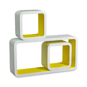 Cube-Design-Retro-Wandregal-CD-Regal-Buecherregal-Weiss-Wuerfel-3er-Set-Homestyle4u