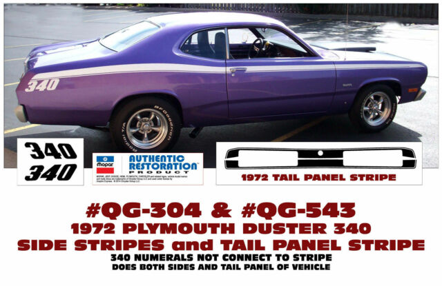 1970 Plymouth Duster 340 COMPLETE Decals & Stripes Kit   eBay