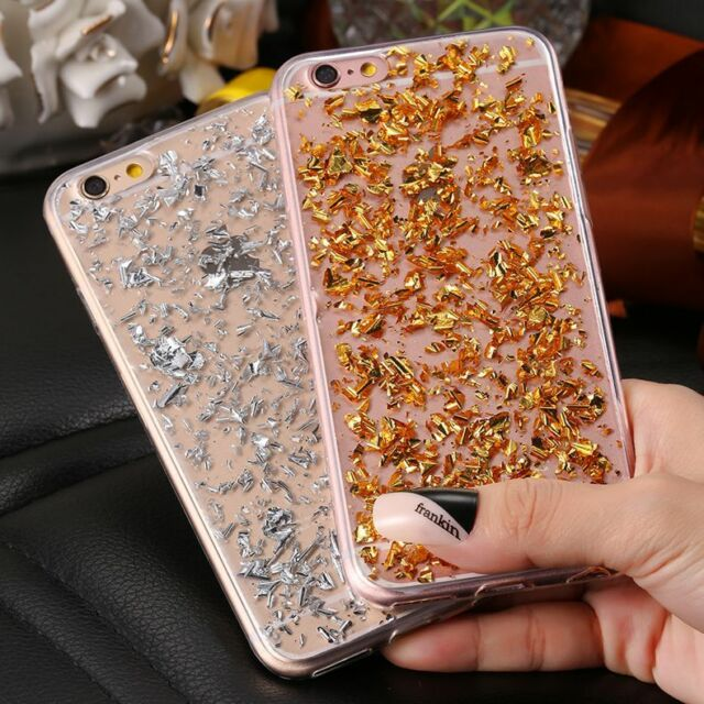 Bling Glitter Foil Star Crystal Clear Soft TPU Case Cover for iPhone Samsung