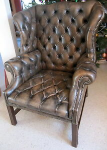 englischer chesterfield sessel mit hocker ohrensessel ledersessel ebay. Black Bedroom Furniture Sets. Home Design Ideas