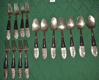 Antique BronnzewareRosewood Tableware Flateware Handmade by Skilled Craftsmen 99 pieces