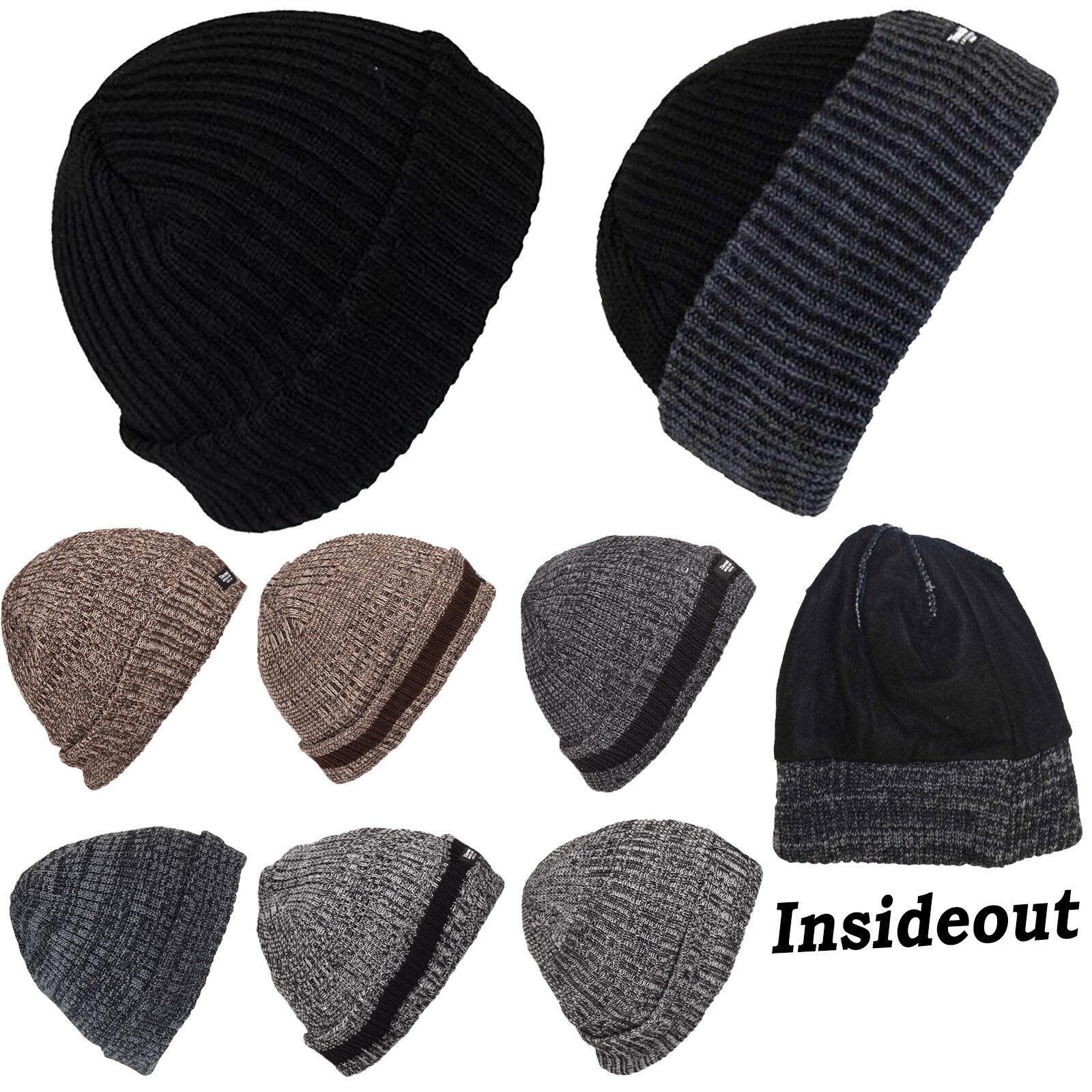 Mens Womens Knitted Woolly Chunky Beanie Outdoor Fleece Warm Winter Ski Hat Cap