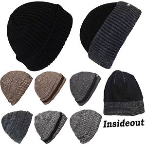 7dd5f2c4185 Mens Thin Isulated Knitted Woolly Chunky Thermal Beanie Outdoor ...