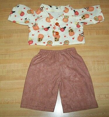 "THANKSGIVING TURKEY PRINT DRESS for 16-17/""CPK Cabbage Patch Kids w//turkey button"