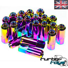 60MM NEO CHROME ALLOY FORGED EXTENDED  BLOX WHEEL NUTS M12x1.5 fit MAZDA MX5 MX3