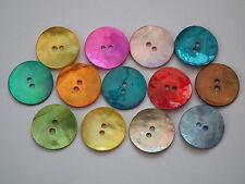 50 15mm Ronda De Madre Perla Concha Botones En Colores Variados (B10)