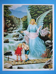 Catholic-Print-Picture-GUARDIAN-ANGEL-with-Boy-amp-Girl-on-bridge-large-12x16-034