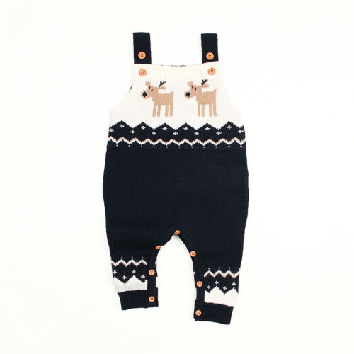 US Christmas Kid Baby Boy Girl Sleeveless Knitted Sweater Romper Overall Clothes