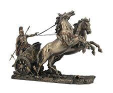 "14.5"" Achilles On Two Horse Chariot Statue Sculpture Figurine Troy Greek Decor"