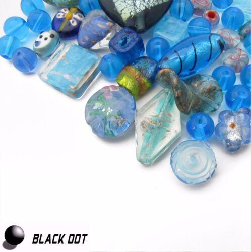 Glasperlen Mix Italian Style Blau//Türkis 10-30mm Schmuckbastel Packung Beads