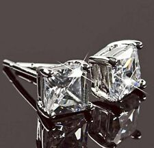 9K WHITE GOLD FILLED Clear Square Crystal Cubic Zirconia silver Stud Earrings