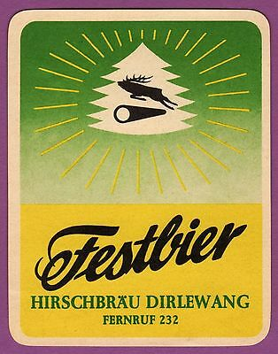 altes Bieretikett Hirschbräu Dirlewang