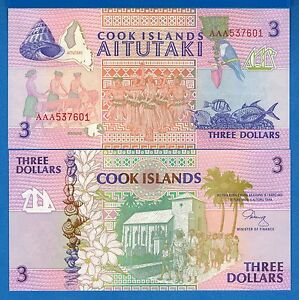 1987 P-3 Shark First Issue Unc Cook Islands 3 Dollars