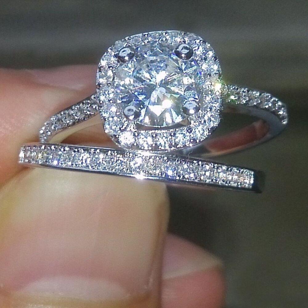 1.50 Ct Round Sim Diamond 14k Real White gold Bridal Set Wedding Engagement Ring