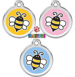 Red-Dingo-Bumble-Bee-Engraved-Personalised-Dog-Cat-ID-identity-Tags-Discs