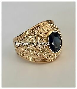 Bague-Chevaliere-Oz-Saphir-Plaque-Or-18-Carats-Taille-66-Bijoux-HOMME-NEUF