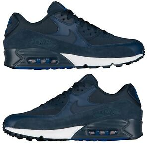 NIKE AIR MAX 90 SUEDE MEN s RUNNING ARMORY NAVY - BLUEJAY - WHITE ... 0860217a7a74