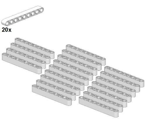 20Stk LEGO® 40490-05 - Balken Gera White 1x9 Weiß Technic Liftarms