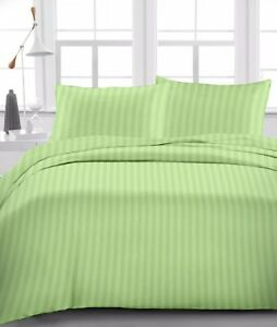 Sage-Stripe-Egyptian-Cotton-600-TC-Bed-Sheet-Set-Duvet-Fitted-Pillow-All-size