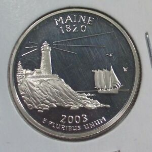2003-S-MAINE-STARE-QUARTER-NICE-BU-SILVER-PROOF-CAMEO-US-COIN-a011