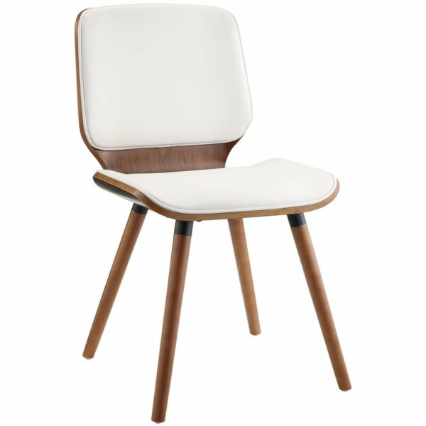 Acme Nemesia Accent Chair In White Leatherette And Walnut