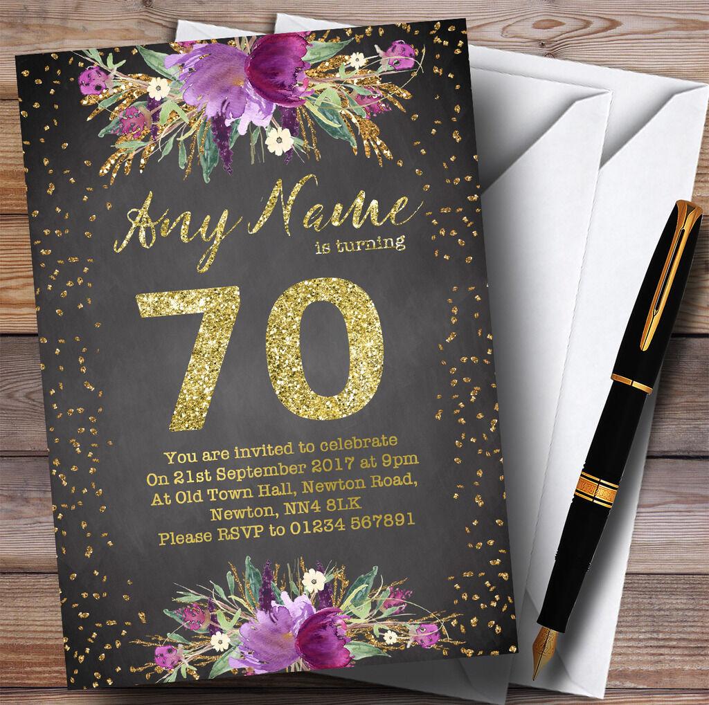 Tiza Acuarela púrpuraa oro 70th Personalizado Invitaciones Fiesta De Cumpleaños