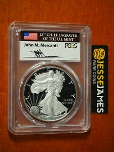 2017 W PROOF SILVER EAGLE PCGS PR70 DCAM FLAG MERCANTI FIRST DAY OF ISSUE FDI