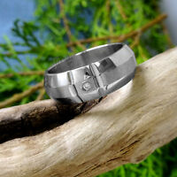 Silver Men's Stainless Steel Band CZ Ring