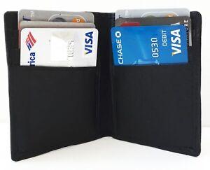 Black-Genuine-Leather-Men-039-s-Bifold-Wallet-6-Credit-Cards-Front-Pocket-Holder