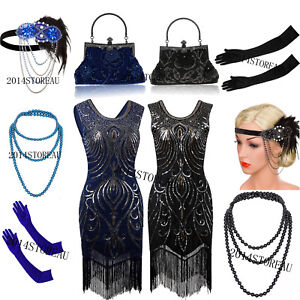 c53382550f Image is loading 1920s-Flapper-Dress-Charleston-Gatsby-Sequin-Tassel-Party-