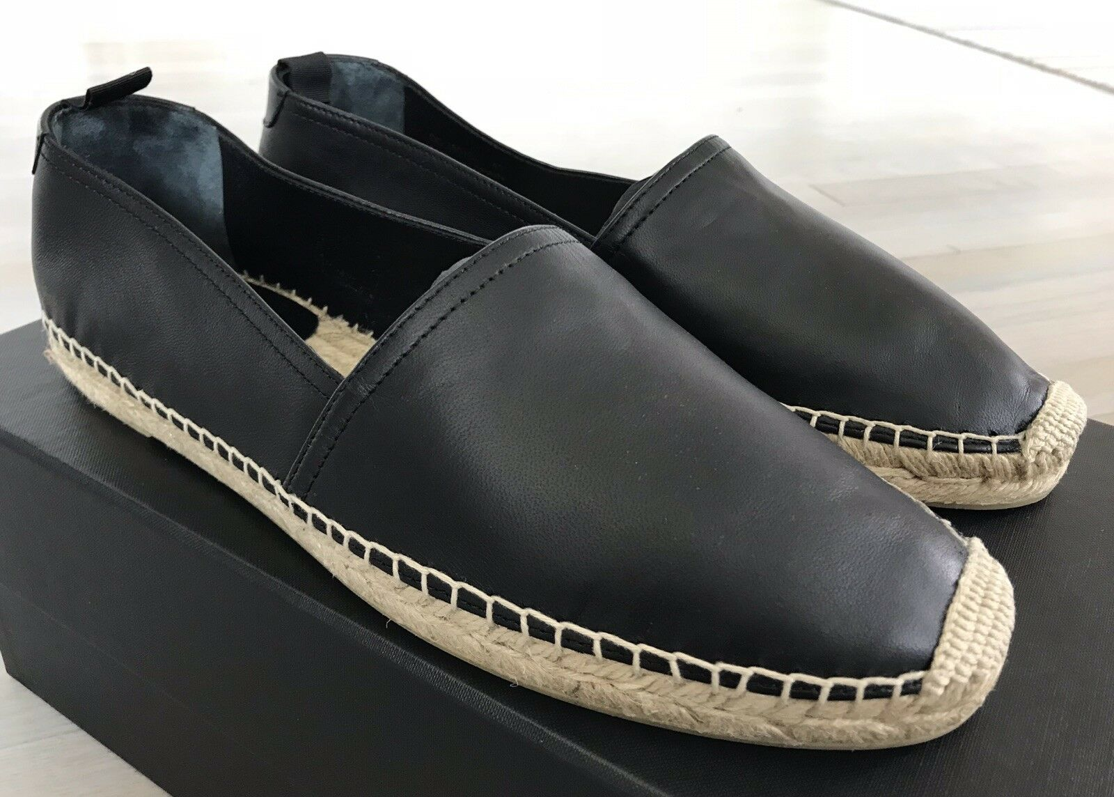 500$ Saint Laurent Black Leather Espadrilles size US 8, Made in Spain