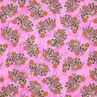 RJR Dan Morris Sew Catty Cat Floral Flower Pink Cotton Quilt Quilting Fabric /Yd
