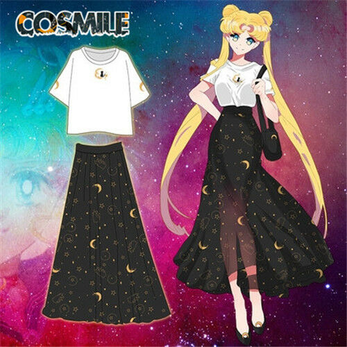 Sailor Moon Princess Serenity Cosplay T-shirt Top Long Skirt Fai