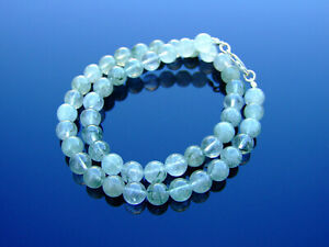 Actinolite-Natural-Gemstone-Necklace-8mm-Beaded-Silver-16-30inch-Healing-Stone