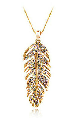 Charming Womens Feather 9K White Yellow Gold Filled Crystals Necklace & Pendant