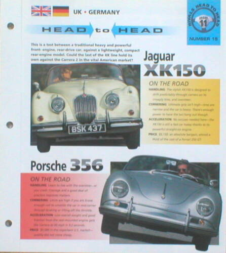 Porsche 356 Road Test Brochure Jaguar XK 150 vs