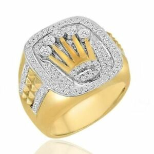 5fa6cd9ce742b Details about Men's Yellow Plated Rolex Design With White Stone Men'  Engagement Wedding Ring