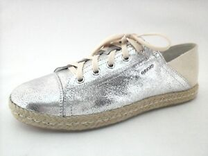 GEOX-RESPIRA-Shoes-Silver-Leather-Canvas-Sneaker-ESPADRILLES-Flats-US-10-40-195