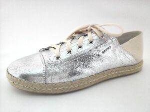 geox respira chaussures chaussures respira Argent  cuir toile basket espadrilles flats f20b02