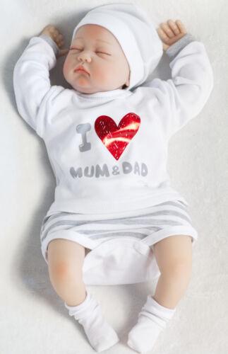 """Baby Mädchen Jungen Langarm Body /""""I love mum /& dad/"""" Baumwolle Weiß Gr 68 74 80"""