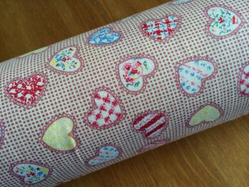 Retro Checked Multi coloured Heart 100/% Cotton Poplin Fabric