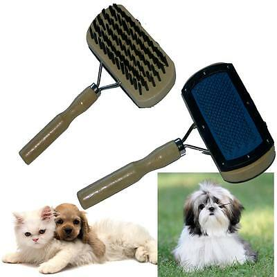 DOUBLE SIDED PET ANIMAL CAT DOG PUPPY RABBIT WOODEN GROOMING BRUSH BRISTLE PINS